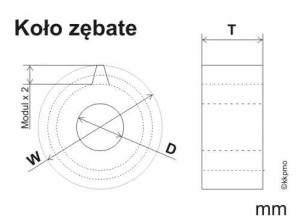 Gearwheel M 0.5 (D)=1.0mm,(T)=2.0mm,(W)=22.5mm, 43 teeth, Brass